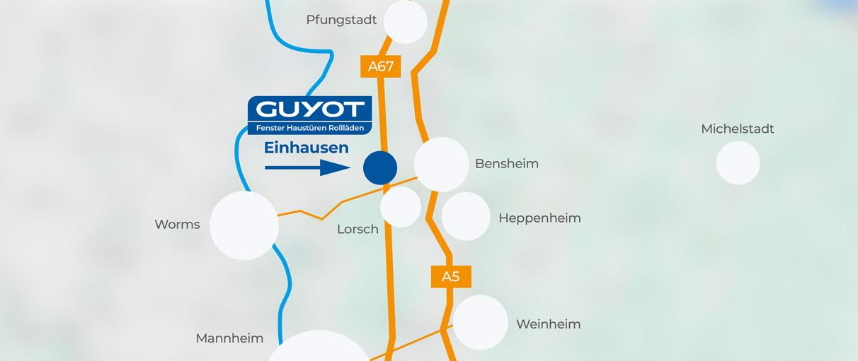 Anfahrtskizze Firma GUYOT Einhausen
